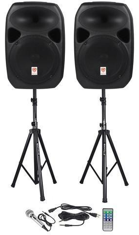 Speakers With Stands and Microphone