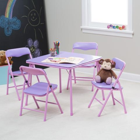 Children's folding table and chair pink set