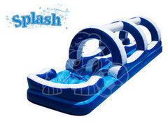 A Double Lane Inflatable Slip And Slide water slide(blue and white)