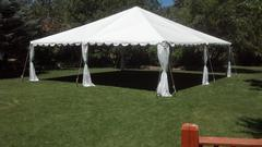 30x30 white party tent, tables & chairs