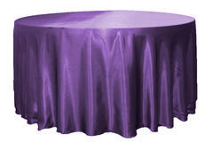 Purple satin round table cover