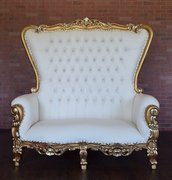 White & Gold Love seat