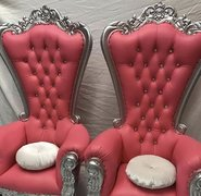 Pink & Silver Single Throne Chair
