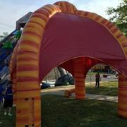 Inflated 15 x 15 tent orange and yellow
