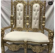 white & gold royal throne loveseat