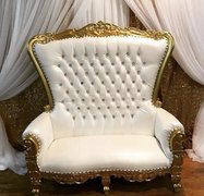 White & Gold Loveseat