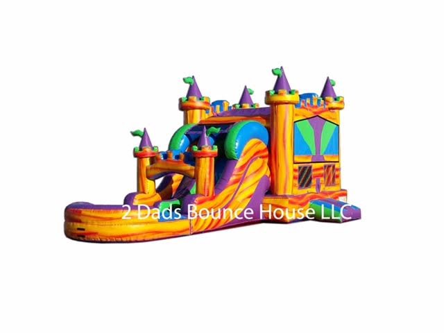 Fire Palace Dual Lane Water Slide Combo