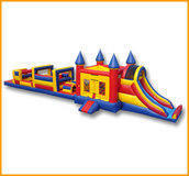 54 ft Dual Lane Castle Obstacle Course Wet with pool (15, 31)