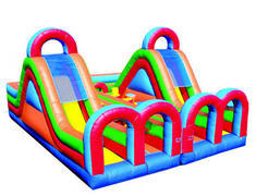 <b>[ Obstacle Course ]<br><font color=red><b>27 Ft Compact w/14 Ft Tall Slide x 2<br><small>(Side By Side Obstacle Couses)<br></font>Best for ages 2 - 12<br><font color=blue>Size 30 D x 23 W x 20 H</font>