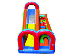 "<b>[ Obstacle Course ]<br><font color=red><b>27 Ft Compact w/14 Ft Tall Slide<br></font><small>Best for ages 1 - 12<br><font color=""blue"">Size 30 D x 13 W x 20 H </font>"