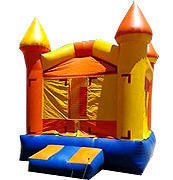 <font color=red><b>Orange and Yellow Castle Jump<br></font><small>Best for ages 1 - 12<br><font color=blue>Size 12 W x 14 D x 14 H</font>