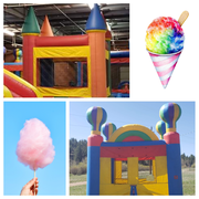 Deluxe Party to Go!  1 Deluxe Bounce House, 1 inflatable game (Velcro wall, climbing wall, bungee run, or jousting arena), 3 Tents, 4 Tables, 32 Chairs, Sound System, Cotton Candy Machine, and Snow Cone Machine!