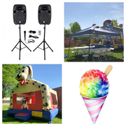 Party to go! Standard Bounce House, 4 Tables, 32 Chairs, Sound System, 2 tents, and one concession Machine