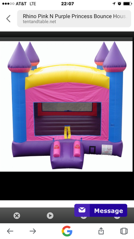 Pink and purple princess bounce house