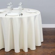 Round Ivory Polyester Tablecloth