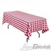 60 X 102 In. Rectangular Tablecloth Red & White Checkered