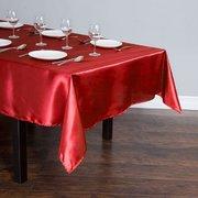 RED RECTANGULAR SATIN TABLECLOTH
