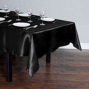 BLACK RECTANGULAR SATIN TABLECLOTH