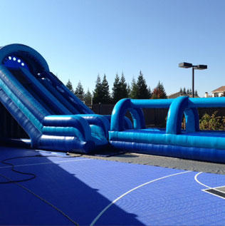 Inflatable Slide by the Pool