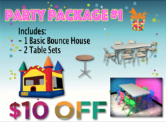 Party Package #1- Basic Bounce House, 2 Table Sets