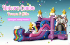 Unicorn Combo Bounce House w/ Water Slide & Pool