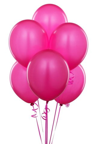 Hot Pink Latex Balloons (w/Helium)