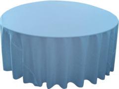 "120"" Round Tablecloth (Polyester/Light Blue)"