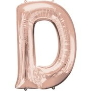 """D"" Rose Gold Letter Inflated (34in)"