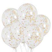 "11"" Clear Balloons with Gold Confetti  (w/Helium)"