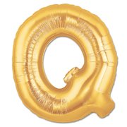 """Q"" Gold Letter Inflated (34in)"