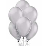 Silver Latex Balloons (w/Helium)