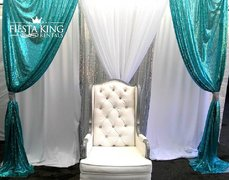 White and Silver Wing Back Chair