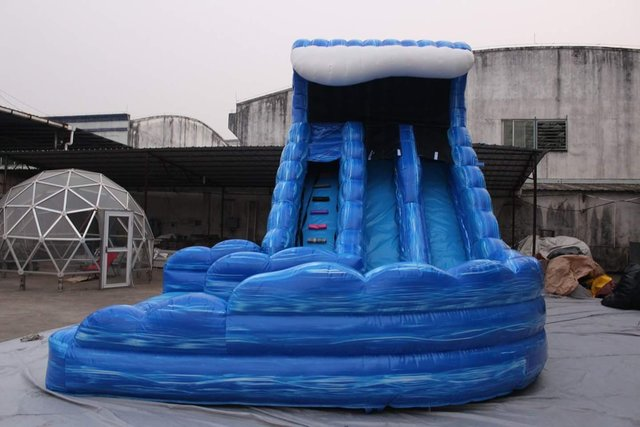 22ft Double Lane Blue Wave Slide with Pool