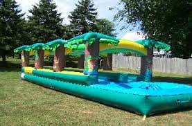 Double Lane Tropical Slip n Slide with pool