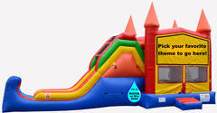 Castle Combo Themed 4 in 1 Jump Climb wet/dry slide with basketball hoop