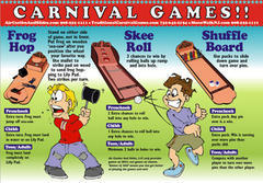 A125 Carnival Game Sampler 3 games (no tables, canopy, or back walls, nor staff included)