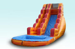18'H Fire Orange Water Slide (Single Lane)