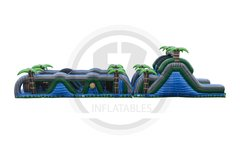 Blue Crush Slide Obstacle Course (Double- 80' Long)