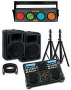 dj system with dj and lights