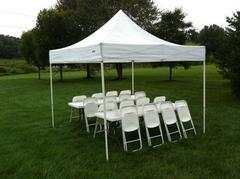 10x10 Tent (Pop Up) Package For 20 People,(2)8' Tables and 20 Chairs