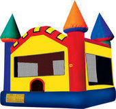20x20 Frame Tent with 6 rectangular tables 48 Chairs and the Castle Moon Bounce