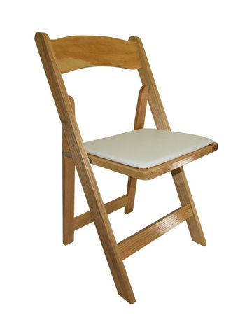 Natural Wood Folding Chair with Pad