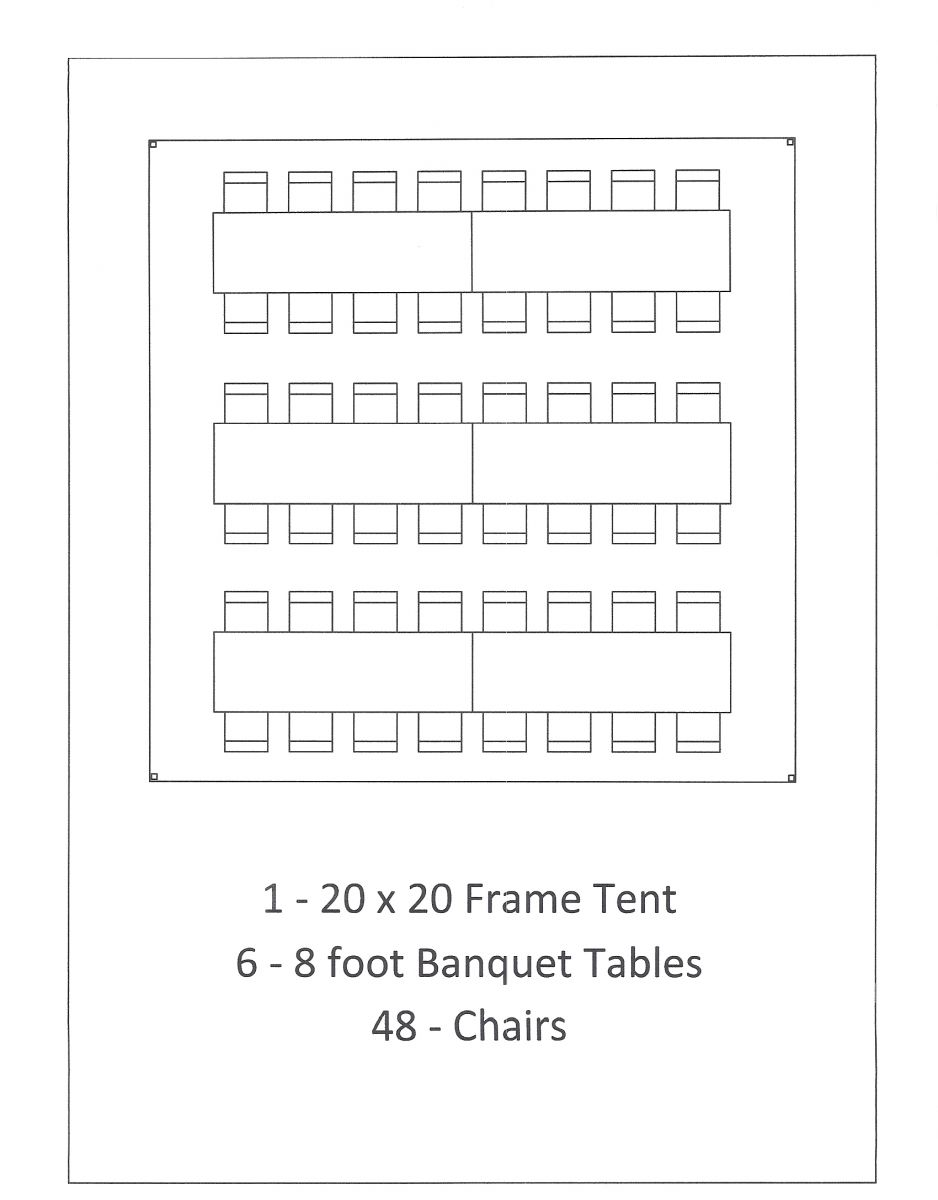 20x20 frame tent banquet seating
