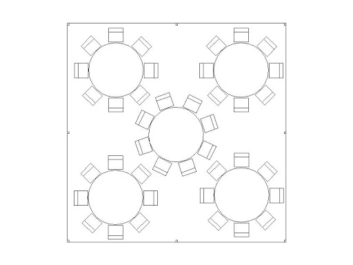 20x20 frame tent round table seating