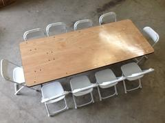 6 foot rectangular children table with 10 children chairs (renter to setup)