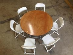 36 inch round children table with 6 children chairs (renter to setup)