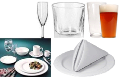 Dishes,glasses,flatware (minimum order required)