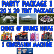 20x20 Tent Package with Bounce House and Concession