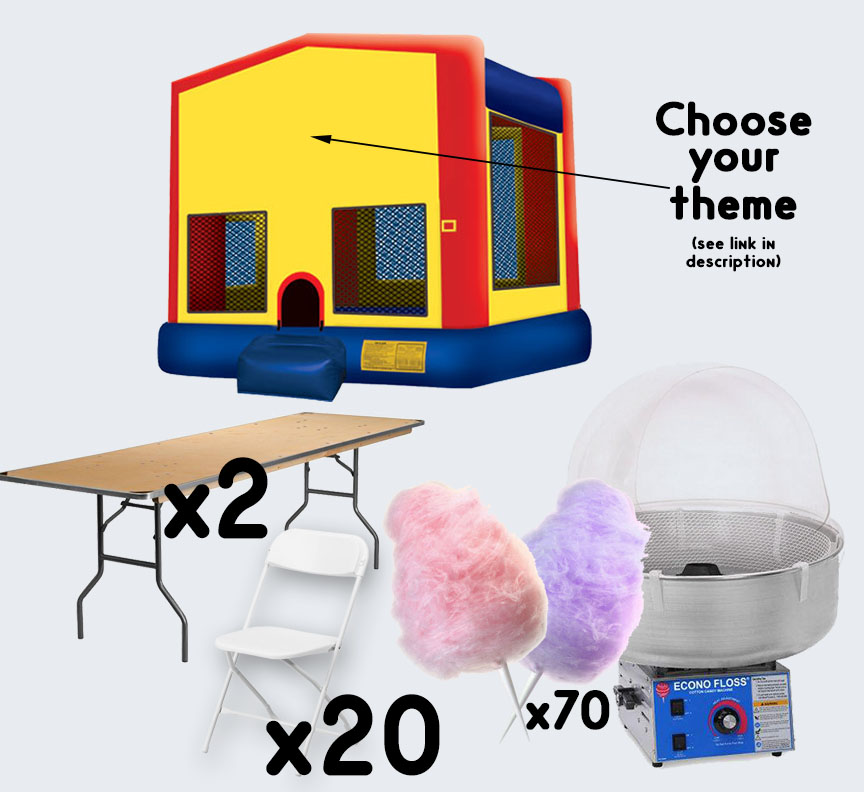 Bounce House Cotton Candy 2 tables and 20 chairs party package rental from Austin Bounce House Rentals