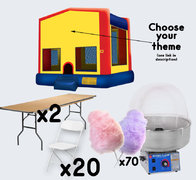 Bounce House + Cotton Candy with 2 Tables + 20 Chairs (adult)